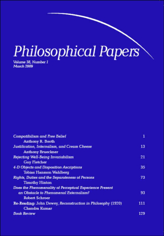 Cover image - Philosophical Papers