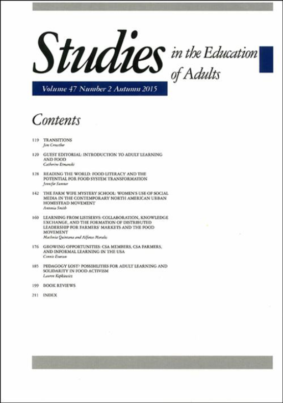 Cover image - Studies in the Education of Adults
