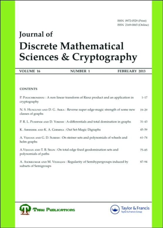 Cover image - Journal of Discrete Mathematical Sciences and Cryptography
