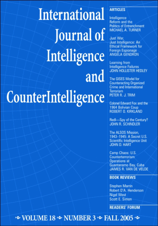 Cover image - International Journal of Intelligence and CounterIntelligence